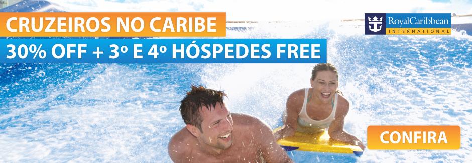 Cruzeiros Caribe 30% + 3 e 4 FREE